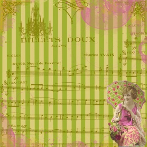 scrapbook paper - green stripes umbrella lady