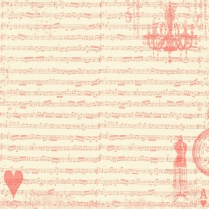 Scrapbook Paper - red sheet music collage