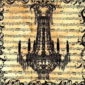 scrapbook paper_music sheet chandelier collage