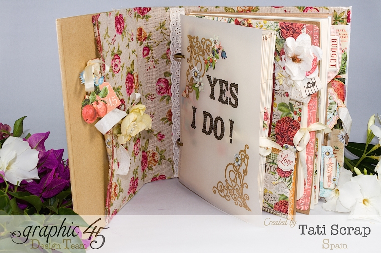 Tati, Wedding Planner, Mixed Media Album, Time to Flourish, Product by Graphic 45, Photo 6