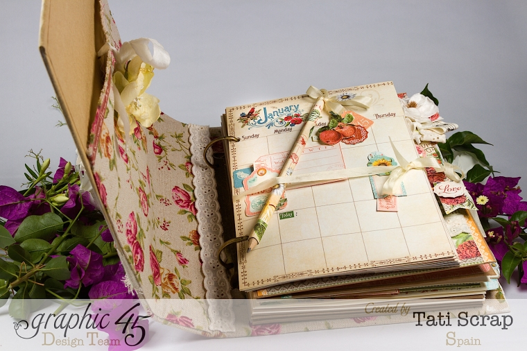 Tati, Wedding Planner, Mixed Media Album, Time to Flourish, Product by Graphic 45, Photo 7