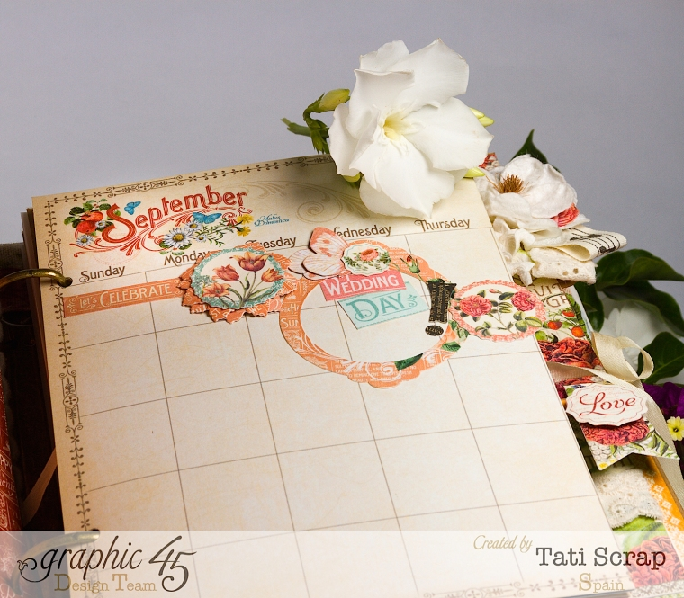 Tati, Wedding Planner, Mixed Media Album, Time to Flourish, Product by Graphic 45, Photo 8