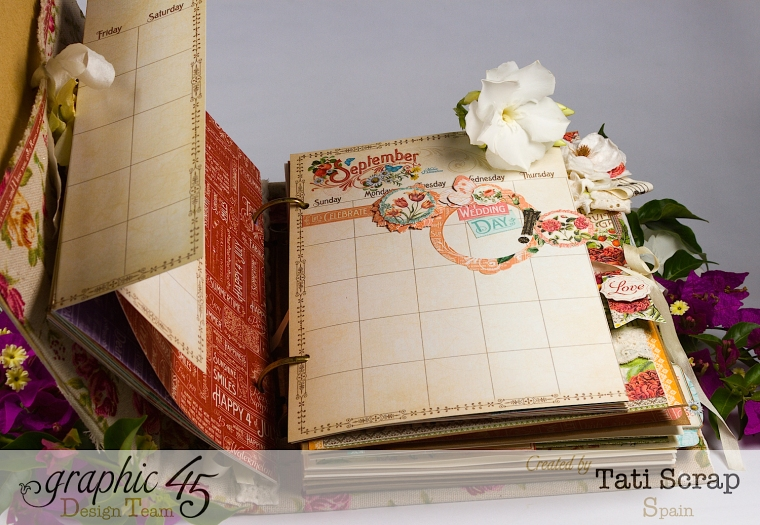Tati, Wedding Planner, Mixed Media Album, Time to Flourish, Product by Graphic 45, Photo 9