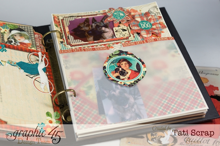 Tati,%22For my Lovely Dogs%22 Mixed Media Album, Raining Cats & Dogs, Product by Graphic 45, Photo 10