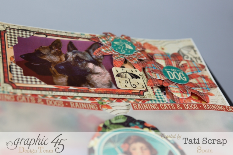 Tati,%22For my Lovely Dogs%22 Mixed Media Album, Raining Cats & Dogs, Product by Graphic 45, Photo 11