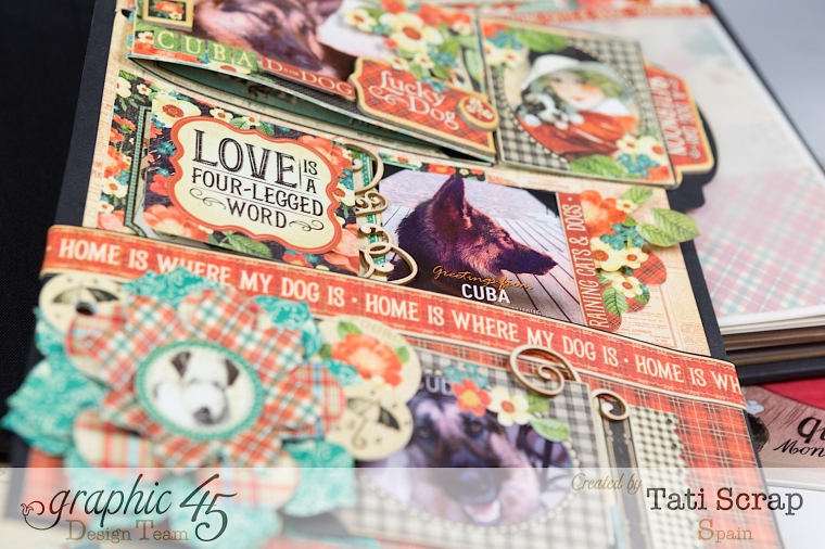 Tati,%22For my Lovely Dogs%22 Mixed Media Album, Raining Cats & Dogs, Product by Graphic 45, Photo 13