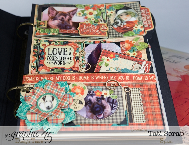Tati,%22For my Lovely Dogs%22 Mixed Media Album, Raining Cats & Dogs, Product by Graphic 45, Photo 7