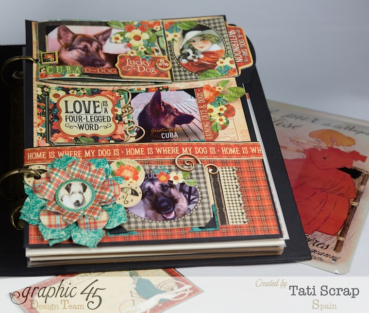 Tati,%22For my Lovely Dogs%22 Mixed Media Album, Raining Cats & Dogs, Product by Graphic 45, Photo 8