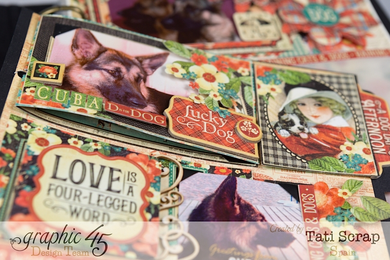 Tati,%22For my Lovely Dogs%22 Mixed Media Album, Raining Cats & Dogs, Product by Graphic 45, Photo12