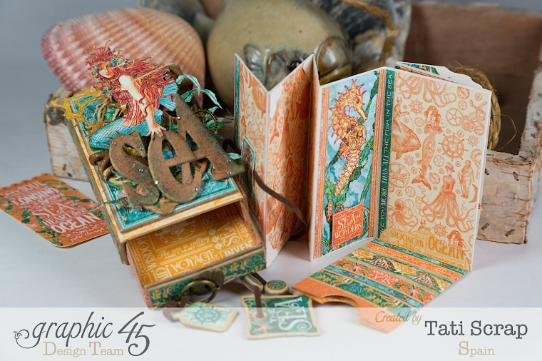 Tati,Voyage Beneath the Sea, Mini Album in a Matchbox , Product by Graphic 45, Photo 14